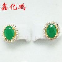 18K gold natural emerald Ear Studs
