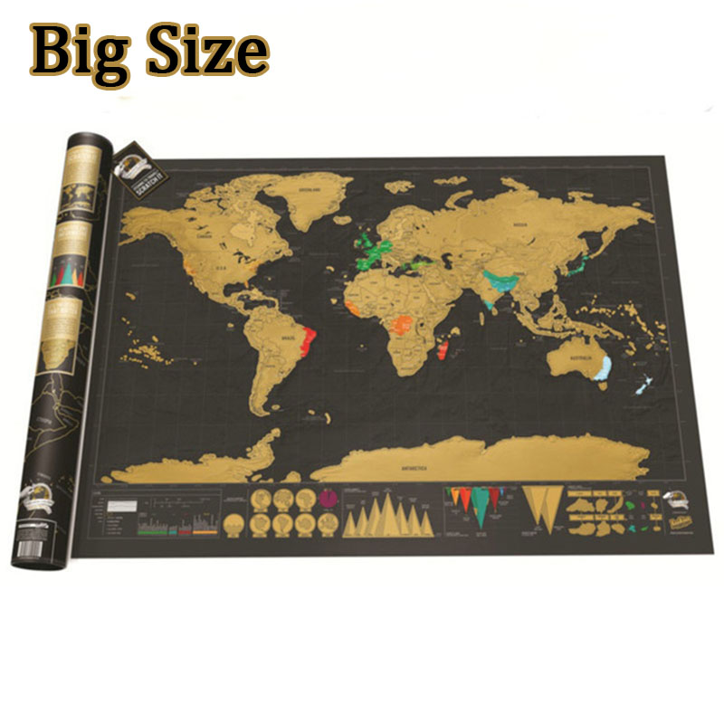 Big Size Scratch Map Scratch Off World Travel Map Poster Copper Foil Wall Sticker  With Cylinder Packing