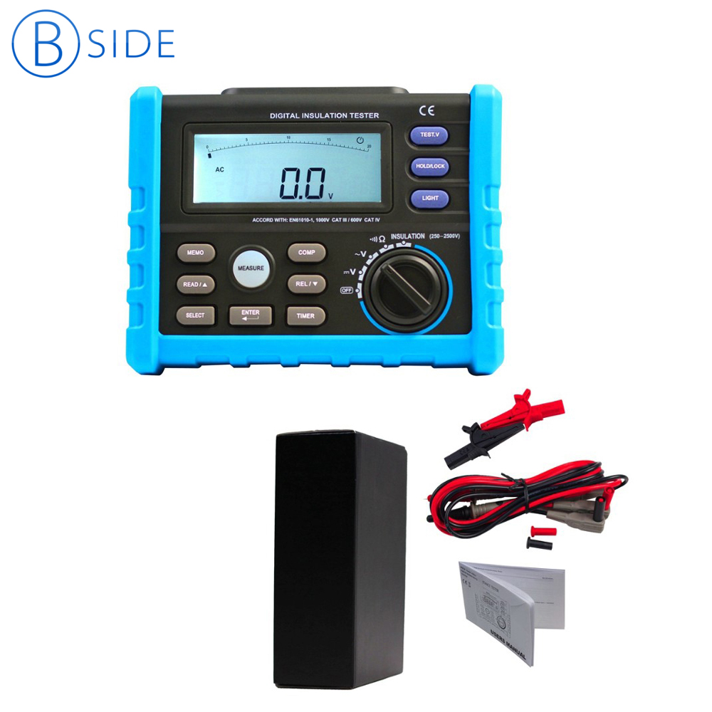 Bside AIM02 Digital High Voltage Insulation Meter Megger Insulation Resistance Tester Multimeter 250V-2500V 0.01M ohm~100G ohm mastech ms5215 high voltage digital insulation resistance tester megometro megger 5000v 3ma temp 10 70c