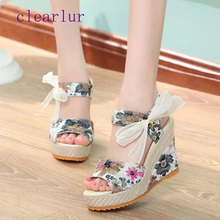 Women's sandals summer fashion platform wedges casual shoes women's floral super high heel toe Sandalias Zapatos Mujer C0360 miquinha red metal leaf decoration open toe mixed color cover heel women fashion thin heel super high casual sandalias mujer