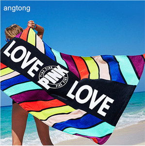 Image 1 - 1PC 147X71cm country towel Pink reactive dyeing soft bath mat 100% cotton beach towel CR T3