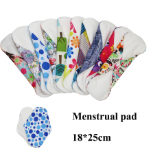 18*25cm 5 pcs Washable Cloth Menstrual Pad with Bamboo Cotton Sanitary Napkin Heavy Flow Menstrual Liner Reusable Sanitary Pads