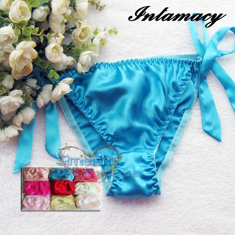 Modne bikini 100% svilene spodnje hlačke, ženske vezalke, tanke svile plus velikosti
