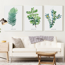 Green Watercolor Leaf Plant Canvas Painted Art Print Poster Picture Wall Office Bedroom Scandinavian Home Decor A2 A3 A4