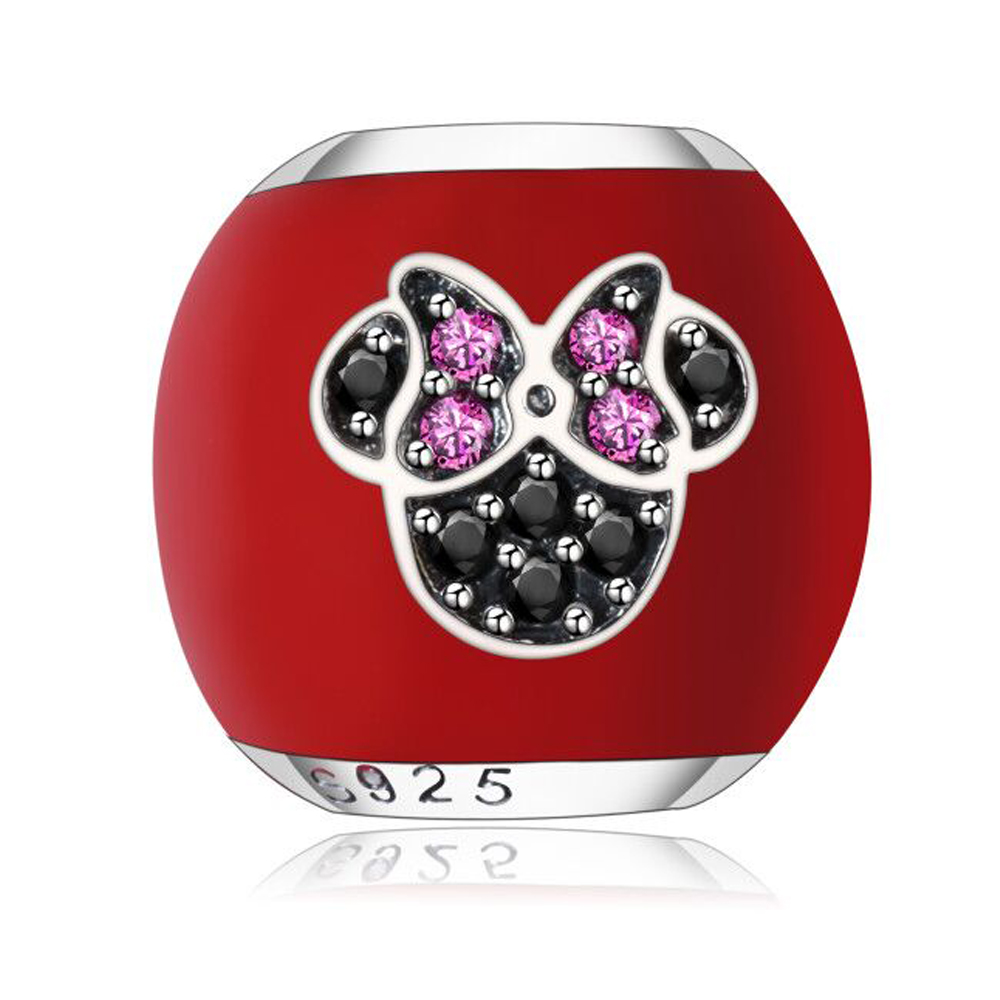 I LOVE MICKEY Charm With Red Enamel and Black Red CZ Fit Original Pandora Charms Bracelet Making Cute Silver Color DIY Beads