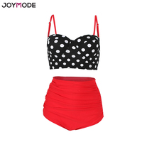 JOYMODE High Waist Bikini Swimsuits Straps Retro Polka Dot Ruffled Sexy Bikini Set Underwire Plus Size