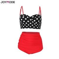 JOYMODE High Waist Bikini Swimsuits Straps Retro Polka Dot Ruffled Sexy Bikini Set Underwire Plus Size