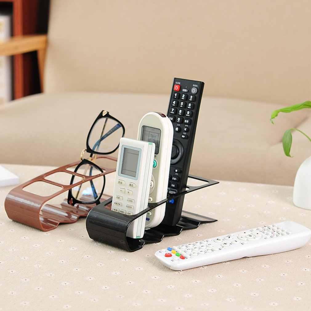 クリエイティブ 4 グリッドリモコン棚収納ボックスプラスチックデスクトップ文房具ラック収納 Dvd ビデオデッキリモートホルダー