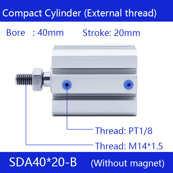 SDA40*20-B Free shipping 40mm Bore 20mm Stroke External thread Compact Air Cylinders Dual Action Air Pneumatic Cylinder