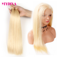 Peruvian Straight Hair 613 Blonde 2 Bundles With 360 Lace Frontal Pre Plucked 100% Remy Human Hair Frontal With Baby Hair Mydiva