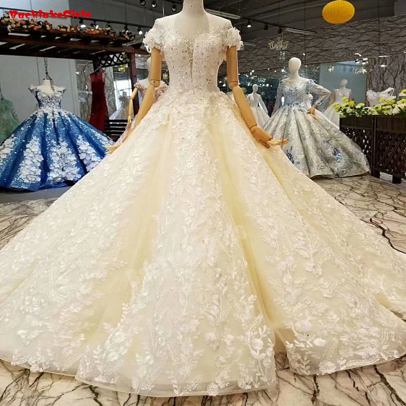 Jeweled Ball Gown Wedding Dresses: 012440 Champagne Wedding Dress Wedding Gown Cap Sleeve