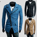 Coat New Sale Long Turn-down Collar Cotton Brand 2014 Spring Outerwear Pocket Oblique Zipper Male Slim Casual Clothing Trench