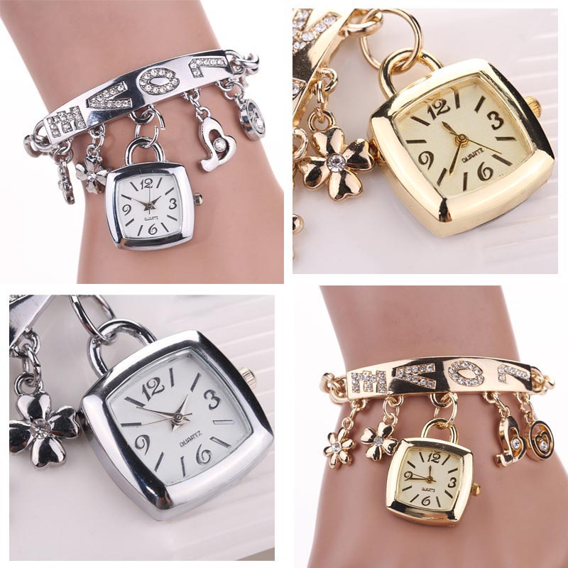 Gold Silver Womens Watch Fashion Women Watches Love Rhinestone Chain Bracelet Wrist Watch Square Dial Watch Montre Femme Clock Watches