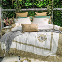 Cream white golden lace Luxury royal 80S Egyptian cotton bedding set king queen size Duvet Cover Bed Linen Bed sheet Pillowcases