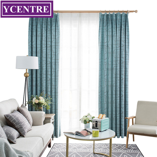 Ycentre Decorative Window Drapes Geometry Blue Jacquard Curtains