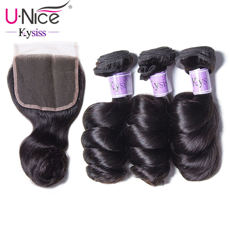 UNice Hair Kysiss Series Brazilian Loose Wave 3 Bundles With Closure 16 26 Brazilian Hair Weave