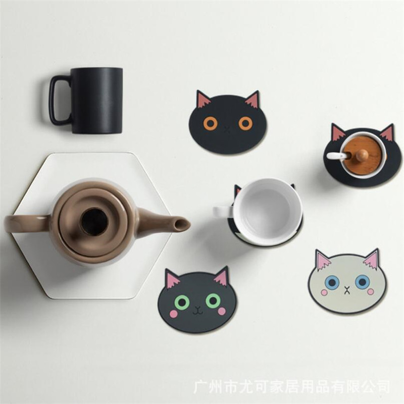 4Pcs/set Cute Cat Coasters Anti-slip Anti-hot PVC Non-toxic Coasters Home Office Desk Decor Coffee Cup Glass Placement Supplies