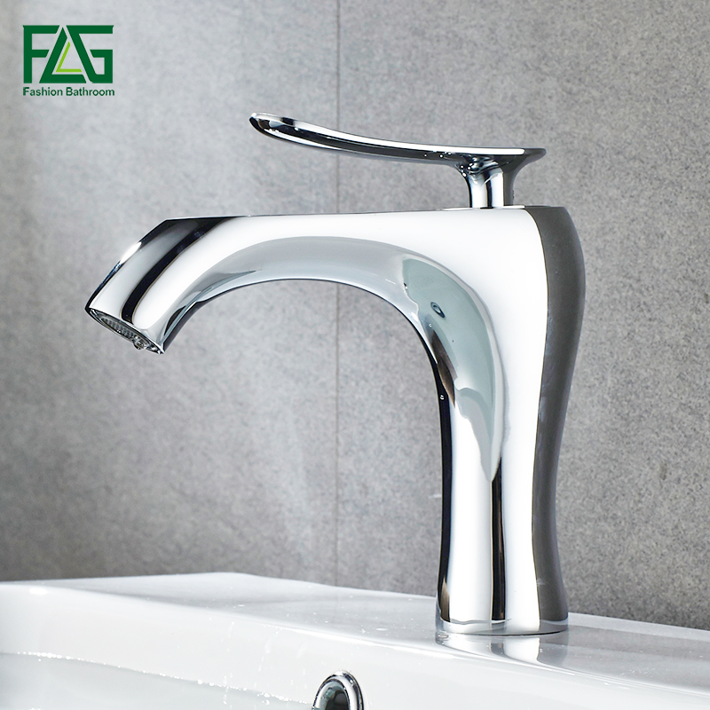 FLG Modern Water Mixer Bathroom Basin Sink Faucet Brass Bathroom Mixer Taps Bathroom Faucet Chrome And White Basin Mixer Tap bathroom basin faucets modern chrome finished bathroom faucet single hole cold and hot water tap basin faucet mixer taps
