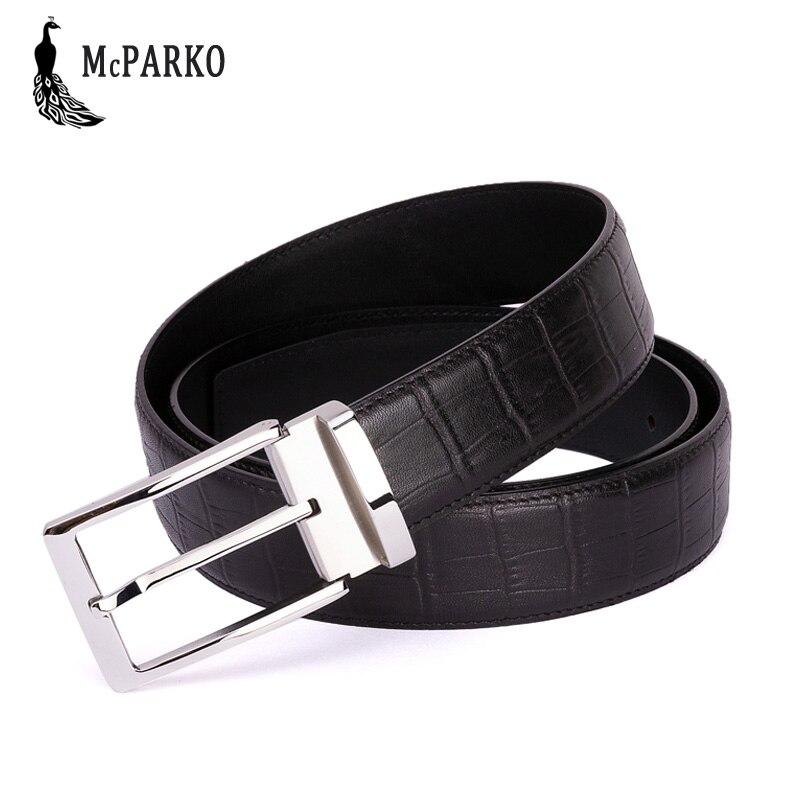 McPARKO Genuine leather belt men Stainless Steel Buckle mens trouser belts Crocodile pattern Design Luxury men
