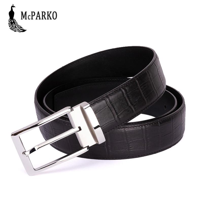 Men's Belts Mcparko Genuine Leather Crocodile Belt Men Luxury Brand M Buckle Alligator Belt Brown Business Man Belts Birthday Gift For Male
