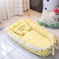 Baby Nest Cot Crib Bed 3D Sleeper Mattress Cotton Newborn Breathable Portable Bed With Bumper Mat