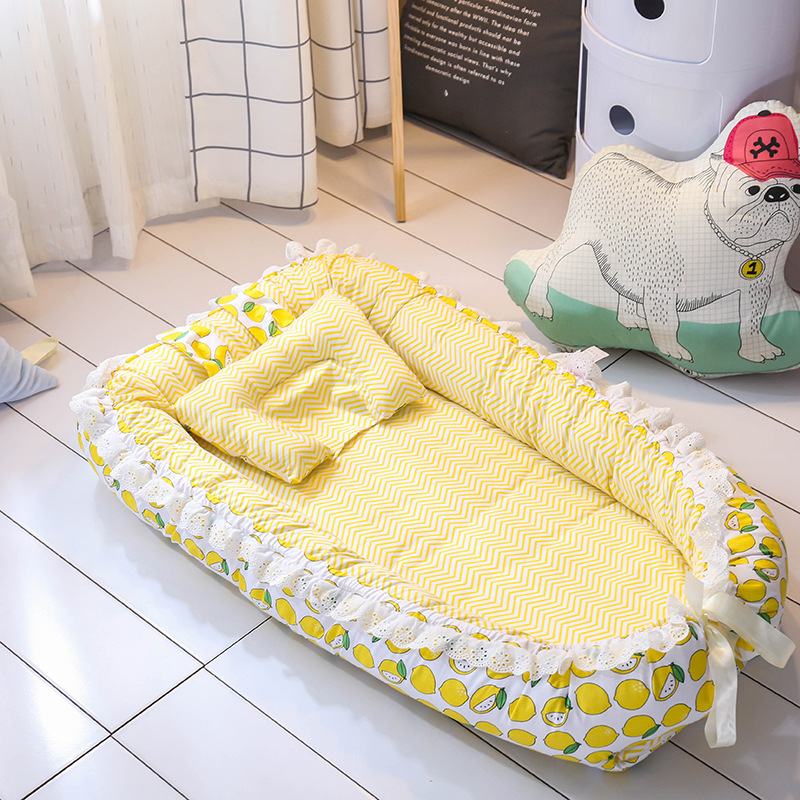 Baby Nest Cot Crib Bed 3D Sleeper Mattress Cotton Newborn Breathable Portable bed with bumper mat pillow Foldable travel bed cute portable baby nest bed crib newborn biomimicry multifunctional emperorship solidder nursery travel bed with bumper mattress