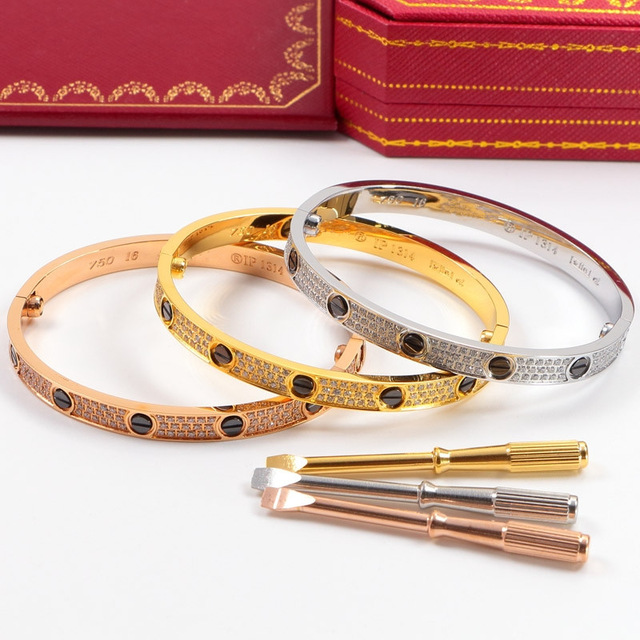 Carter Full CZ black ceramic bracelets bangle brand titanium steel eternal love bracelet women screwdriver Pulseiras Feminina