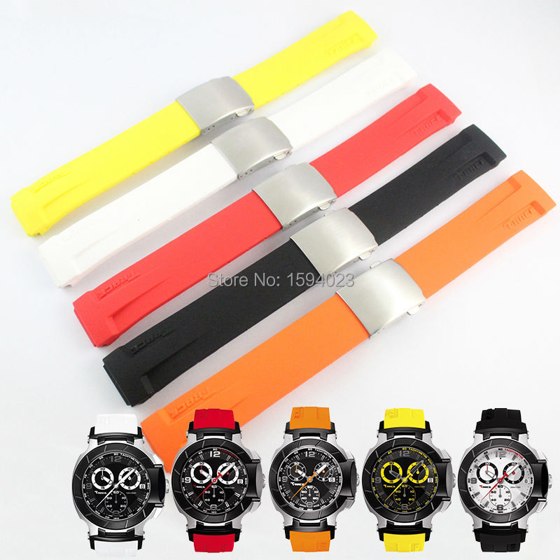 T-RRCE Expert Black Silicone rubber Strap T048 Watch band for T048417A 21mm цена