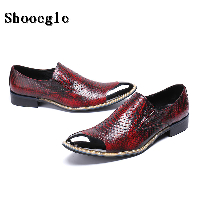 Shoes Men Luxury Brand Snake Fish Skin Metal Pointed Toe Shoes Men Dress Male Office Italian Oxford Shoes Motorcycle Shoes In Many Styles
