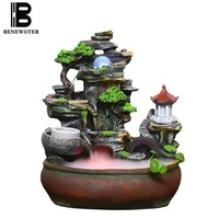 110V 240V Creative Resin Rockery Flowing Water Fountain Lucky Feng Shui Wheel Desktop Ornaments Office Fish Tank Home Decoration