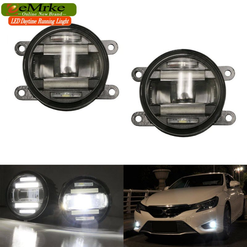 eeMrke Xenon White High Power 2in1 LED DRL Projector Fog Lamp With Lens Daytime Running Lights For Renault Laguna 3 2007-2015 eemrke car led drl for honda odyssey jdm 2014 2015 2016 high power xenon white fog cover daytime running lights kits