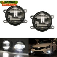 eeMrke Xenon White High Power 2in1 LED DRL Projector Fog Lamp With Lens Daytime Running Lights For Renault Laguna 3 2007 2015