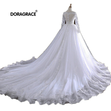 Doragrace vestidos de noiva Applique Tulle 3/4 Sleeve Wedding Dresses Cathedral Train Gowns