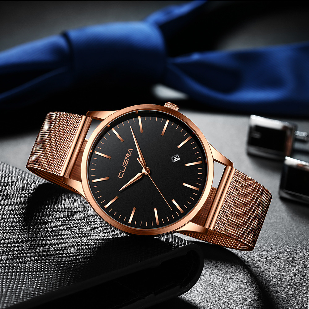 CUENA Fashion Men Watch Military Stainless Steel Analog Date Sport Business Simple Mens Clock Quartz Wrist Watches reloj hombre analog watch