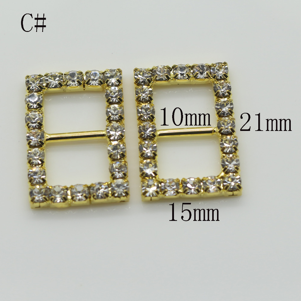 Shiny Rectangle 10pc golden Rhinestone Buckle Diamante Ribbon Slider  Wedding Invitation card Decoration buckles metal crystal-in Buckles   Hooks  from Home ... 8fc9101d5bb3