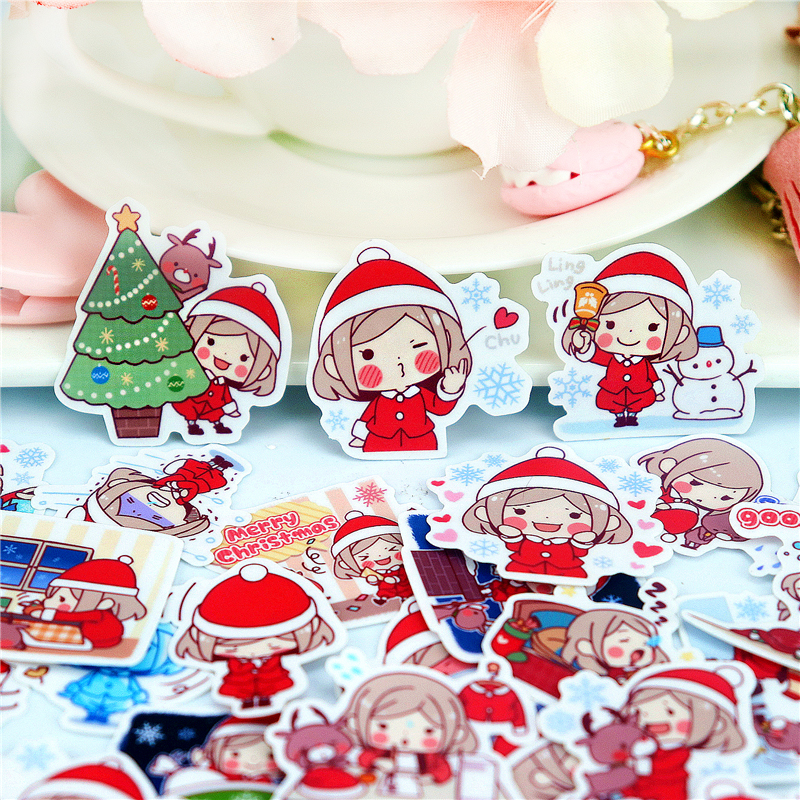 40pcs Cute Christmas Girl Stickers For Luggage Laptop Skateboard Car Bicycle Backpack Decal Pegatinas Toy Waterproof Stickers