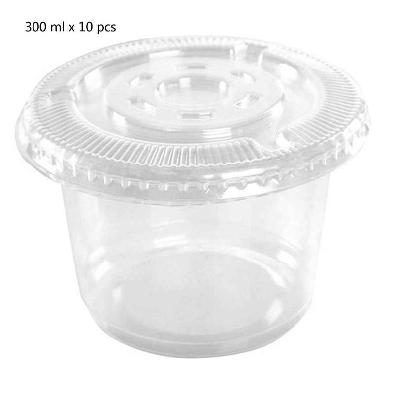 10Pcs 300ml Sauce Pot Container Disposable Cups Set Of Jello Shot Cup Slime Storage With Lid For Ketchup