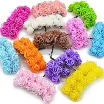 36 72 144pcs Mini Foam Rose Artificial Flowers For Home Wedding Car Decoration DIY Pompom Wreath