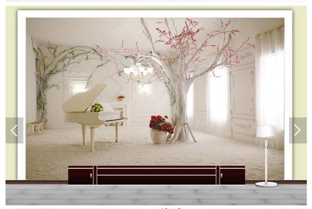3d fototapete benutzerdefinierte 3d wandbilder wallpaper 3 d baum romantische traum klavier tv. Black Bedroom Furniture Sets. Home Design Ideas