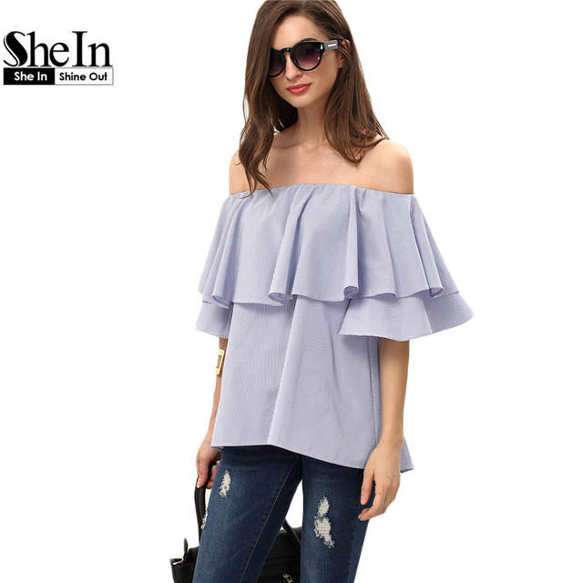 4f843569 SheIn Ladies Plain Royal Blue Ruffle Off The Shoulder Tops Womens Fashion  Summer Short Butterfly Sleeve