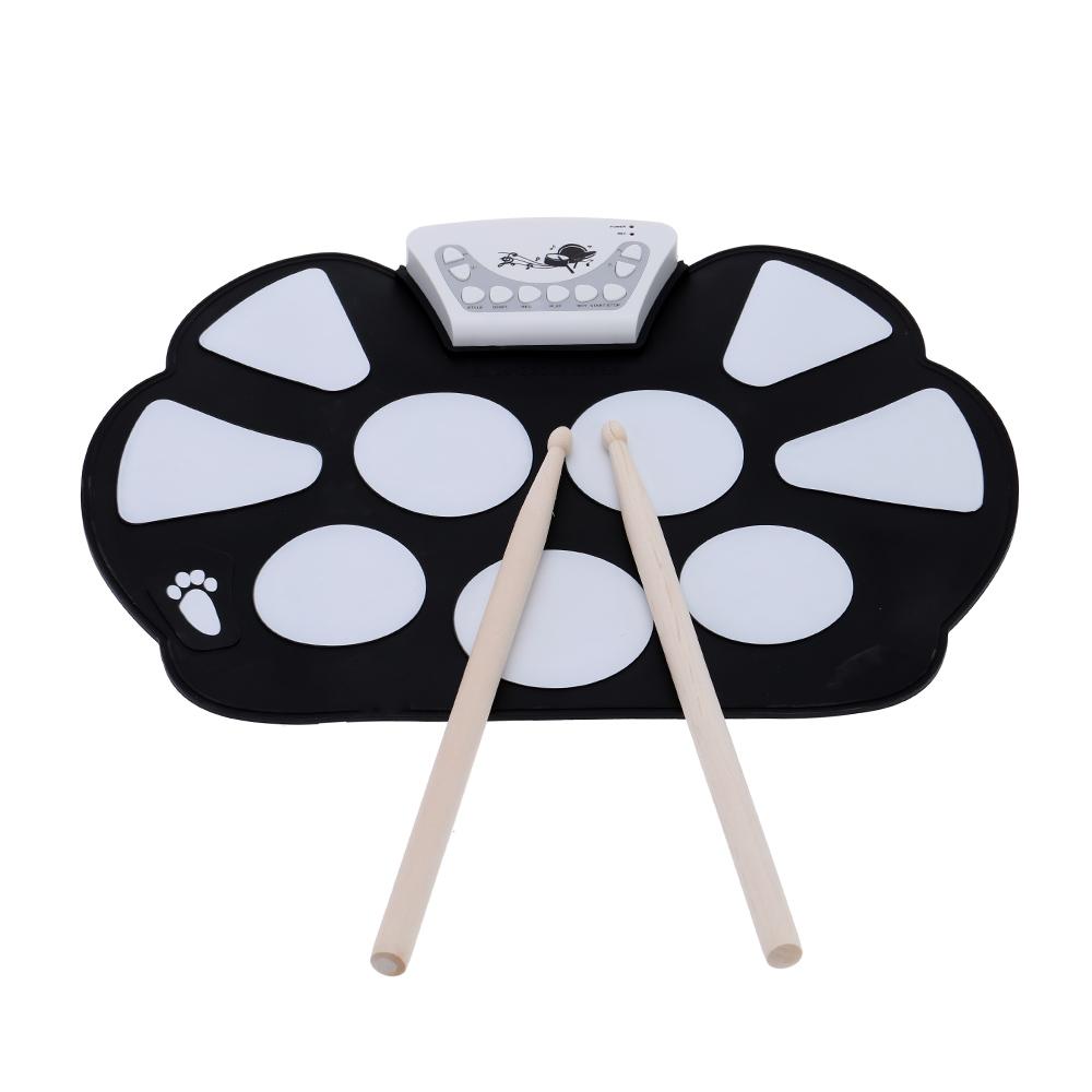 Prix pour Portable Électronique Roll up Drum Pad Kit De Silicium Pliable avec Bâton