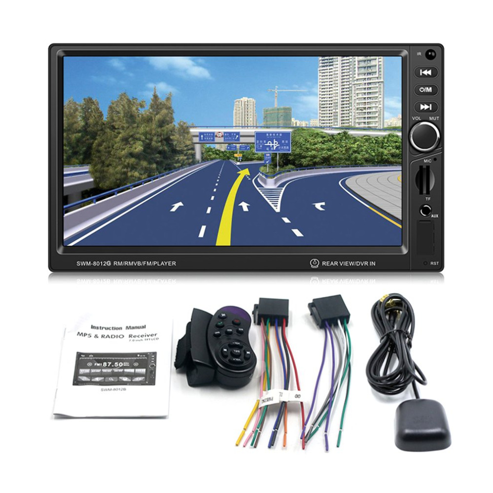 SWM-8012G 7-Inch Large Display Screen GPS Navigation Car DVD Brake Prompt Vehicle Music Player Support Bluetooth Mini TF Card spot supply of original 7 inch c070vw02 v0 auo car dvd gps display display screen 9 into a new