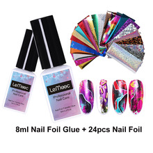 LEMOOC 8ml Nail Foil Adhesive Glue + Starry Sky Sticker Set Transfer UV Gel Polish DIY Manicure