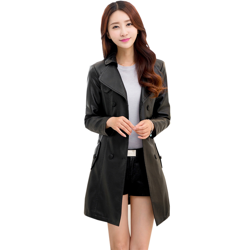 Winter Coat Female Faux   Leather     Suede   Long Jacket Pu   Leather   Women Thick Slim Warm Coat Outwear Plus Size New Fashion RE0155