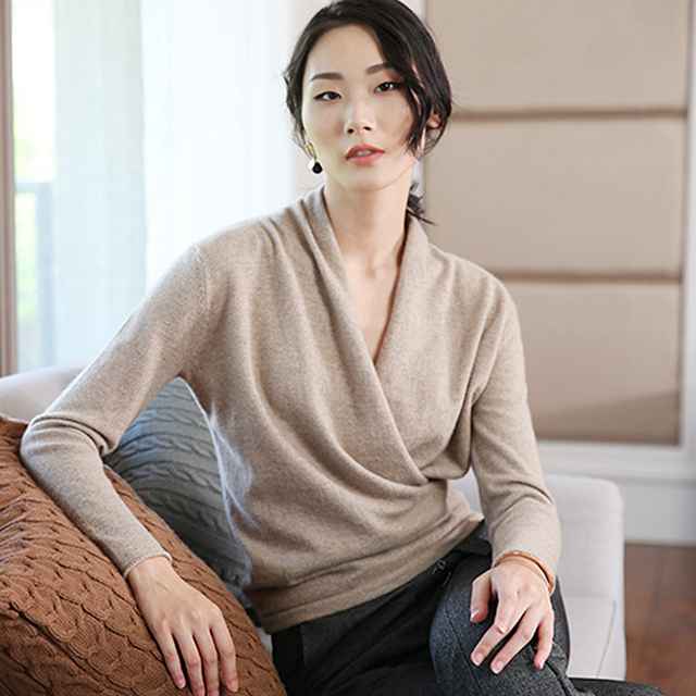 100% Cashmere Sweater Women Simple Design Cross V Neck Long Sleeves 2 Colors Ladies Casual Pullovers Knitwear 2017 New Fashion