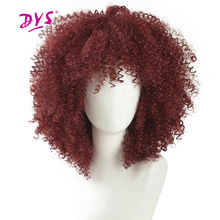 Deyngs Short Pixie Cut Afro Kinky Curly Synthetic Wigs With Bangs For Black Women Natural Black/Red African American Hair