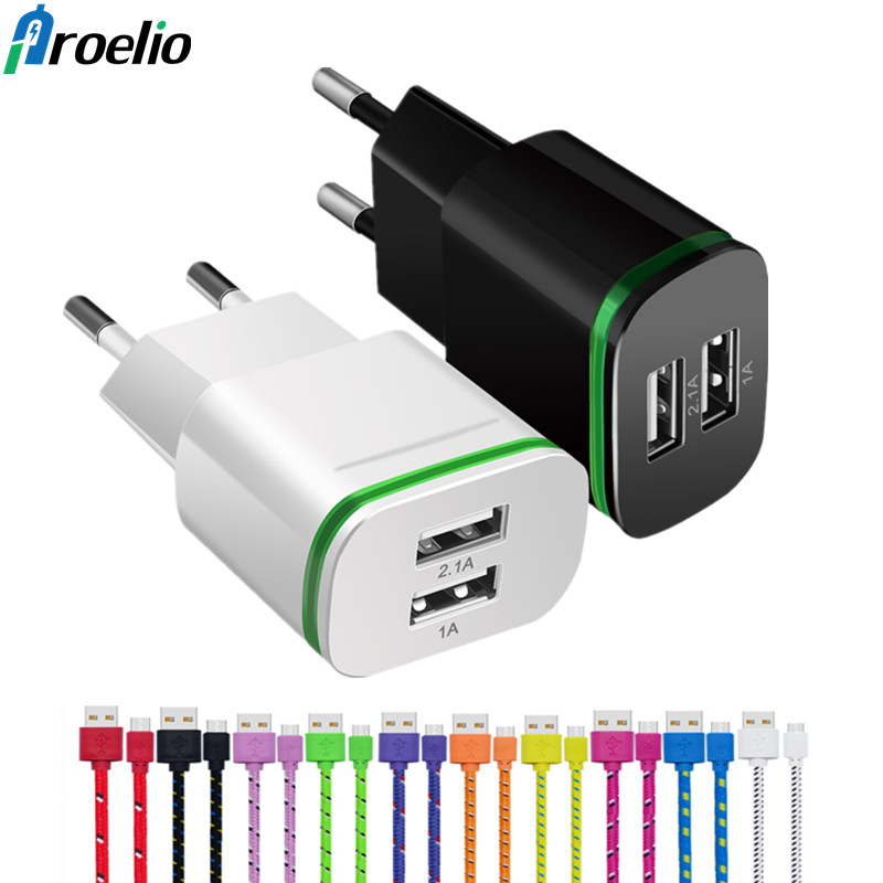 Proelio 5V 2.1A USB Charger for iPhone X 8 7 iPad Air Fast Wall Charger EU/US Adapter for SamsungS9 Xiaomi Mobile Phone Charger