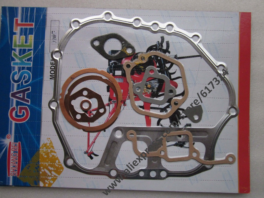 The gasoline air cooled 178F/186FA/186F/192F/170F,the set of gaskets kit, part number: