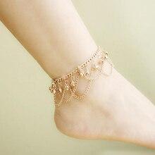 Brand New Tassel Anklet 2016 New Ankle Bracelet Pulseras Tobilleras Gold Anklets For Women Summer Fine Jewelry Barefoot BW587