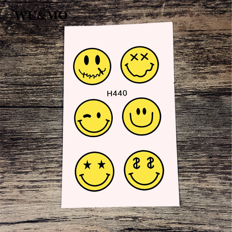 H440 Smiling Face Expression Body Art Sexy Harajuku Waterproof Temporary Tattoo For Man Woman Henna Fake Flash Tattoo Stickers